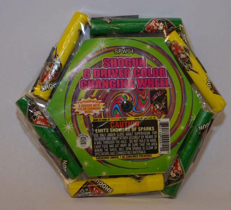 Novelty Fireworks – Shogun 6 Driver Color Changing Wheel